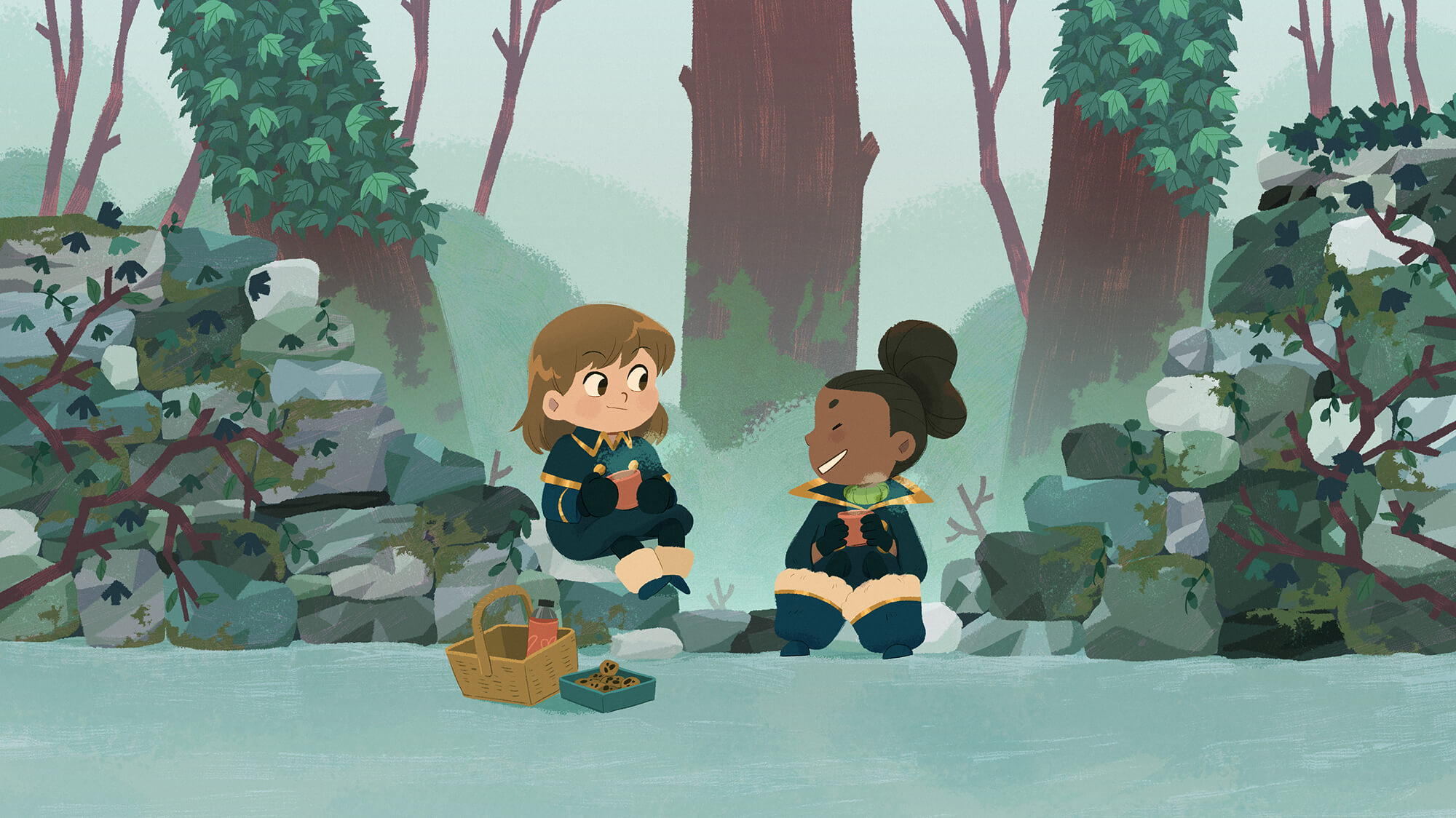 two girls enjoying a cup of tea in a forest during winter